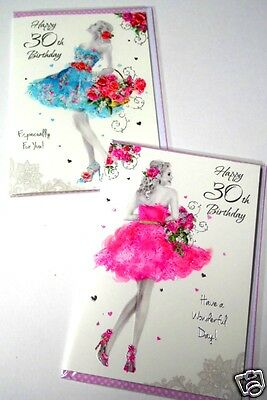 30TH BIRTHDAY CARDS x12, just 25p! FOILED-WRAPPED-EMBOSSED, SUPERB!  (B614