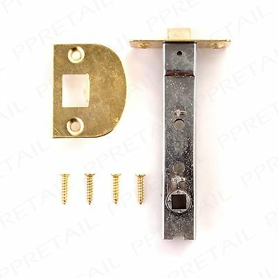 QUALITY LONG 110mm BRASS TUBULAR MORTICE LATCH Internal Door Frame Catch Handle