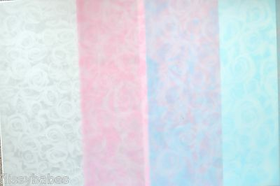 2 x A4 Sheets Small Roses Vellum 112gsm Choice of Silver/Baby Pink/Baby Blue NEW