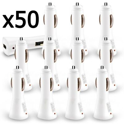 50 x Wholesale Lot White USB Car Charger 1000 mAh for iPhone 6 Galaxy S6 S7