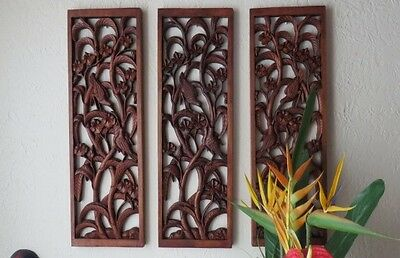 """29.5"""" Hand Carved the Birds Among the Flower Beds Floral Panel Wall (1pc. ONLY!)"""