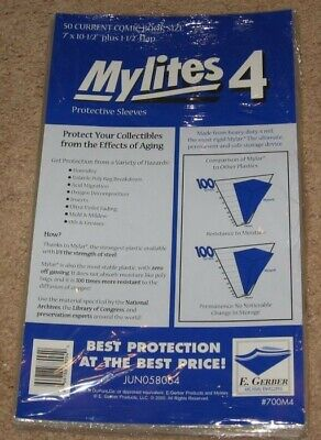 250 E Gerber Mylites 4 Current Comic Book Mylar Bags + Full Back backer boards