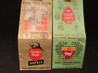 Royal York & King Edward Hotels Cardy & CP 2 WWII Matchcovers with Revenue