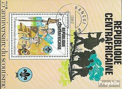 Central African Republic block163 fine used / cancelled 1982 75 years Scouting