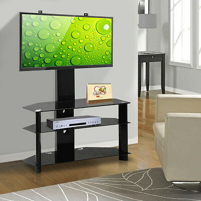 Black Glass Cantilever TV Stand with Mount Bracket for 30-60 Inch LCD LED Screen