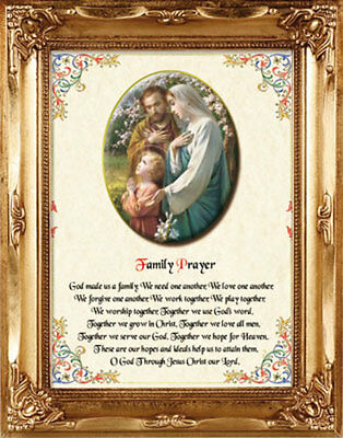 HOLY FAMILY FRAMED PICTURE WITH FAMILY PRAYER 100's OF STATUES & CANDLES LISTED