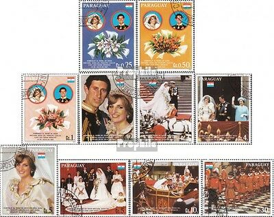 Paraguay 3455-3464 fine used / cancelled 1981 Wedding Charles and Diana