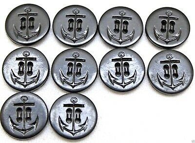 US Navy Black Plastic Resin Anchor Buttons 3/4in 19mm 30L lot of 10  B8020