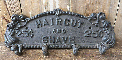 """Cast Iron 13"""" x 4.5"""" SHAVE AND HAIRCUT Coat Hook Rack Key Holder Plaque Hanger • CAD $38.48"""