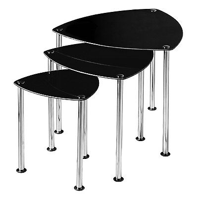 Premier Housewares Nest of 3 Tables with Black Glass Top and Chrome Legs - 43...