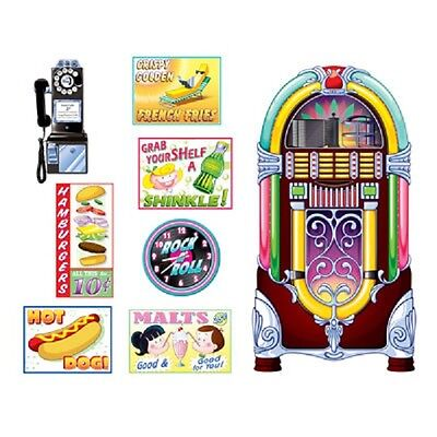 1950's 50's Party SODA SHOP SIGNS & JUKEBOX PROPS DECORATIONS