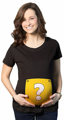 Maternity Question Mark Block T Shirt Nerdy Video Game Pregnancy Tee for Ladies