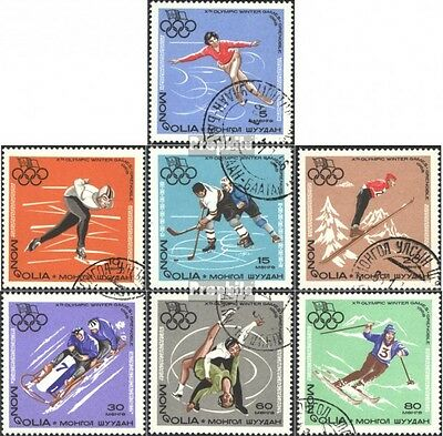 Mongolia 472-478 (complete issue) used 1967 olympic. Winter Gam
