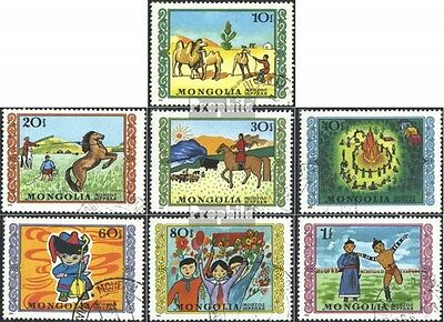 Mongolia 998-1004 (complete issue) used 1976 Childrens Drawings