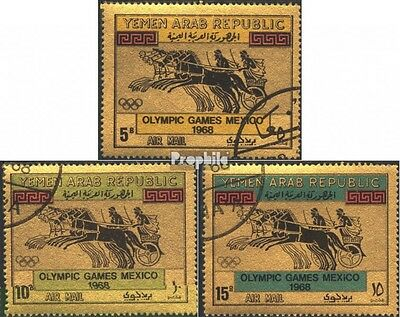 North Yemen 742-744 (complete issue) used 1968 olympic. Summer,