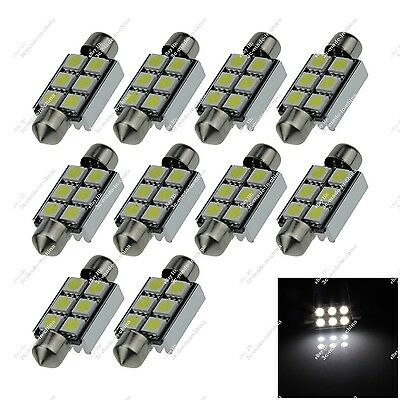 10X White 39MM 40MM 38MM 6 SMD 5050 LED Dome Light Canbus Error Free Auto ZI214