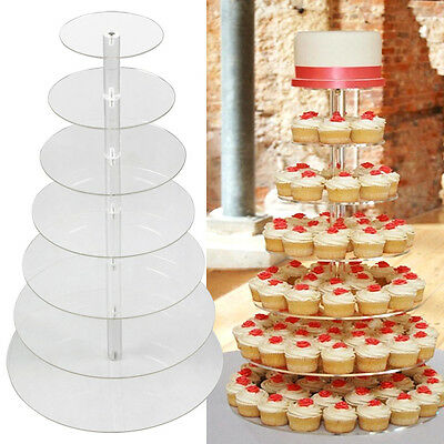 7 Tier Quality Clear Acrylic Round Cake Stand Cupcake Wedding Plate Tea Party
