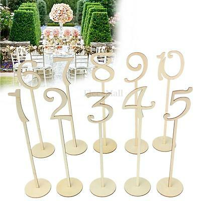 Wooden Shape Table Numbers 1-10 Stick Set With Base For Wedding Birthday Party