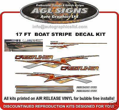 CRESTLINER FISH HAWK  STRIPE KIT GRAPHIC  reproduction decal 1750