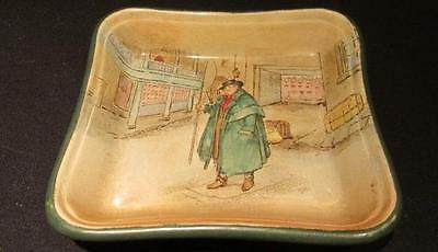 Tony Weller Vintage Royal Doulton D2973F Unusual Rounded Green Edged Square Dish
