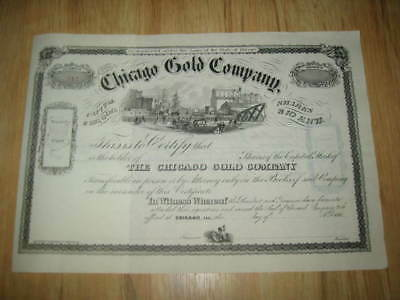 Old 1860's CHICAGO GOLD STOCK CERTIFICATE Colorado MINE