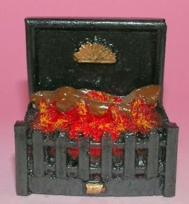 Dolls House working Fire: Firegrate with Logs      in 12th scale