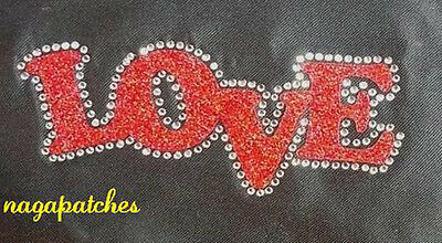 Pattern print / Patch strass & glitter fusible LOVE transfer DIY