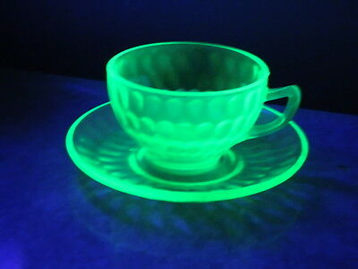 Federal Green Depression Glass Thumbprint Cup And Saucer Excellent