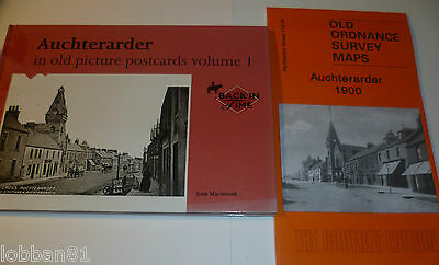 Auchterarder Old Picture Postcard Book & Old Ordnance Survey Map1900  Both New
