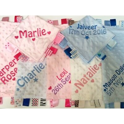 Personalised Baby Soft Dimple Comforter Taggy Blanket Boy Girl Blue Pink Gift