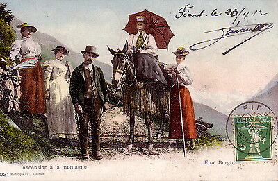 Suisse - Ascension A La Montagne - Carte Datee De Flesch Le 20-4-1912.