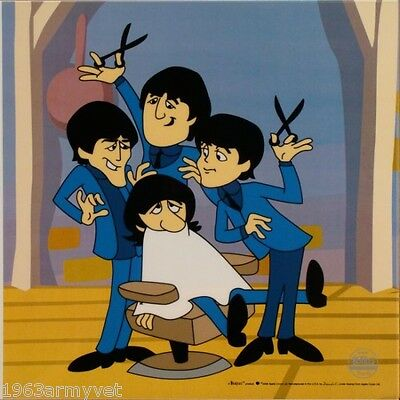 THE BEATLES Cartoon Ltd Ed Sericel Animation Cel BARBER SHOP