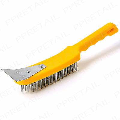 """11"""" Stainless Steel Wire Brush + Scraper 5 Row Rust Removal Scale Paint Diy Tool"""