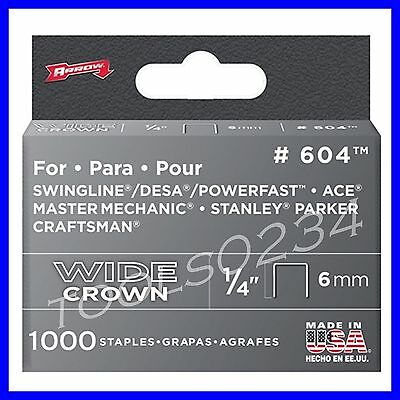 "Genuine Arrow Heavy Duty Staples  1/4"" 1,000 Box #604  MADE IN USA Free Ship"
