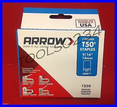 "Genuine Arrow Staples  509 T50  9/16"" 1,250 Box 509  Free USA Shipping"