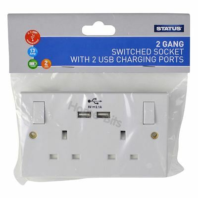 Status 2 Gang Electrical Plug Socket Wall Faceplate with 2 USB Charging Ports