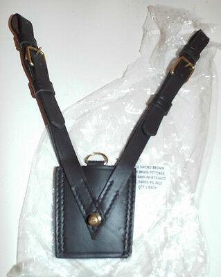 BROWN LEATHER FROG SWORD WITH BRASS FITTINGS, SAM BROWNE British Army  Brand New