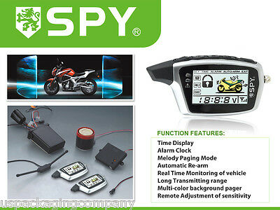 LCD Motorcycle Alarm with Two Remotes Shock Senor and Motion Sensor