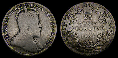 1909 Canada Silver Quarter 25 Cents King Edward VII G-6