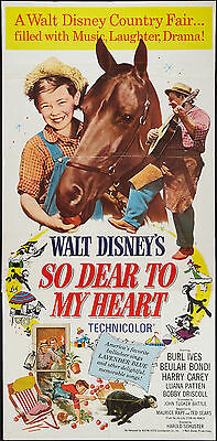 SO DEAR TO MY HEART original large DISNEY 3-sheet movie poster BOBBY DRISCOLL