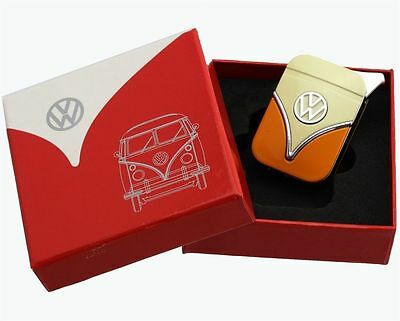 Official VW Camper Van Metal Refillable Gas Lighter in gift box - White + Orange