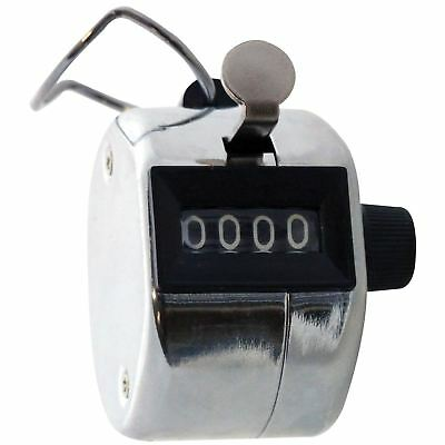 Am-Tech P1925 4 Digit Hand Tally Counter Golf Clicker Chrome Doorman Security