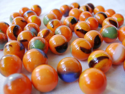 NEW 50 CLOWNFISH 14mm ORANGE GLASS MARBLES TRADITIONAL COLLECTORS ITEMS