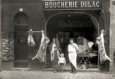 Photo ancien commerce Toulouse Alimentaire Boucherie Dulac tirage repro an. 1920