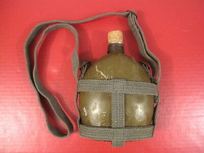 WWII Era Japanese Type 94 Canteen w/Cork & Canvas Carrying Strap - Nice Cond