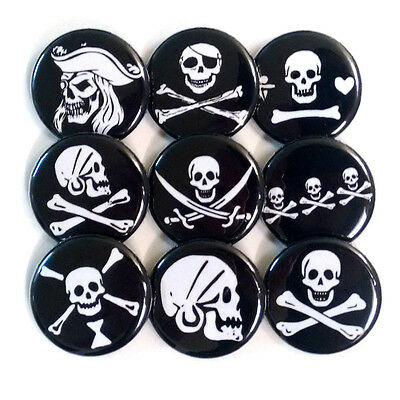 Pirate Jolly Roger Badges Buttons Pins x 9 - Size 32mm Pirates Skulls