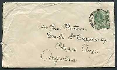 BRITISH GUIANA: (10477) KGV 1c rate to Argentina cover