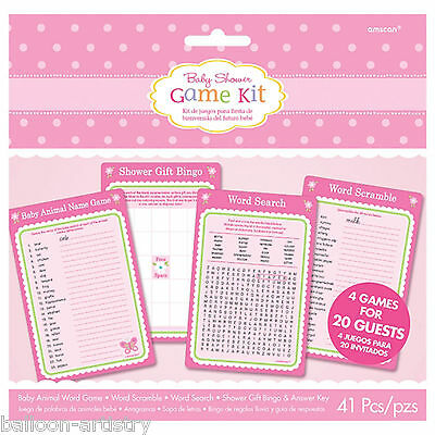 41 Piece Giant Little Pink WELCOME Baby Girl Shower Party Bingo Word Game Set