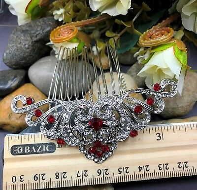 Beautiful elegant wedding red color crystal rhinestone bridal hair comb y3608red