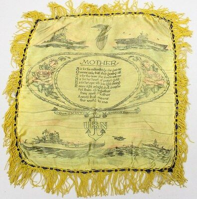 Home Front:  Pillow Cover - U.S. Navy (yellow w/ships)